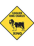 Cavalier King Charles Xing (Crossing) Dog Signs and Sticker