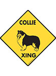 Collie Xing (Crossing) Dog Signs and Sticker