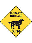 Flat-Coated Retriever Xing (Crossing) Dog Signs and Sticker