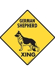German Shepherd Xing (Crossing) Dog Signs and Sticker