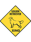 Golden Retriever Xing (Crossing) Dog Signs and Sticker