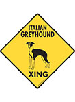 Italian Greyhound Xing (Crossing) Dog Signs and Sticker