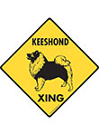 Keeshond Xing (Crossing) Dog Signs and Sticker