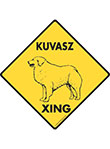 Kuvasz Xing (Crossing) Dog Signs and Sticker