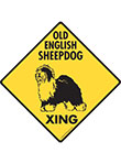 Old English Sheepdog Xing (Crossing) Dog Signs and Sticker