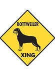 Rottweiler Xing (Crossing) Dog Signs and Sticker