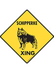 Schipperke Xing (Crossing) Dog Signs and Sticker