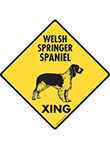 Welsh Springer Spaniel Xing (Crossing) Dog Signs and Sticker
