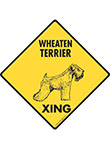 Wheaten Terrier Xing (Crossing) Dog Signs and Sticker