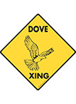 Dove Xing (Crossing) Bird Signs and Sticker