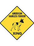 American Hairless Terrier Xing (Crossing) Dog Signs & Sticker