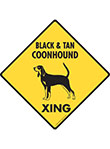 Black & Tan Coonhound Xing (Crossing) Signs and Sticker