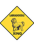 Labradoodle Xing (Crossing) Dog Signs and Sticker