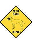 Great Dane Xing (Crossing) Dog Signs and Sticker