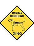 American Foxhound Xing (Crossing) Dog Signs and Sticker