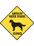 American Water Spaniel Xing (Crossing) Dog Signs and Sticker