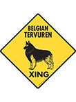 Belgian Tervuren Xing (Crossing) Dog Signs and Sticker