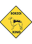 Borzoi Xing (Crossing) Dog Signs and Sticker