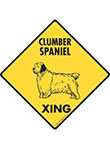Clumber Spaniel Xing (Crossing) Dog Signs and Sticker