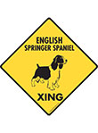 English Springer Spaniel Xing (Crossing) Signs and Sticker