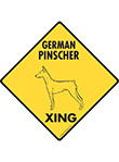 German Pinscher Xing (Crossing) Dog Signs and Sticker