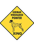 German Wirehaired Pointer Xing (Crossing) Dog Signs & Sticker