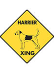Harrier Xing (Crossing) Dog Signs and Sticker
