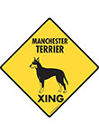 Manchester Terrier Xing (Crossing) Dog Signs and Sticker