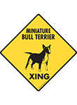 Miniature Bull Terrier Xing (Crossing) Dog Signs and Sticker