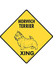 Norwich Terrier Xing (Crossing) Dog Signs and Sticker
