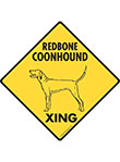 Redbone Coonhound Xing (Crossing) Dog Signs and Sticker
