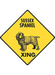 Sussex Spaniel Xing (Crossing) Dog Signs and Sticker