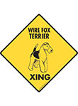 Wire Fox Terrier Xing (Crossing) Dog Signs and Sticker