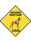 Harlequin Great Dane Xing (Crossing) Dog Signs and Sticker