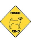 Puggle Xing (Crossing) Dog Signs and Sticker