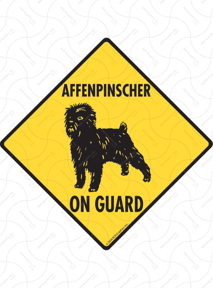 Affenpinscher On Guard Signs and Sticker