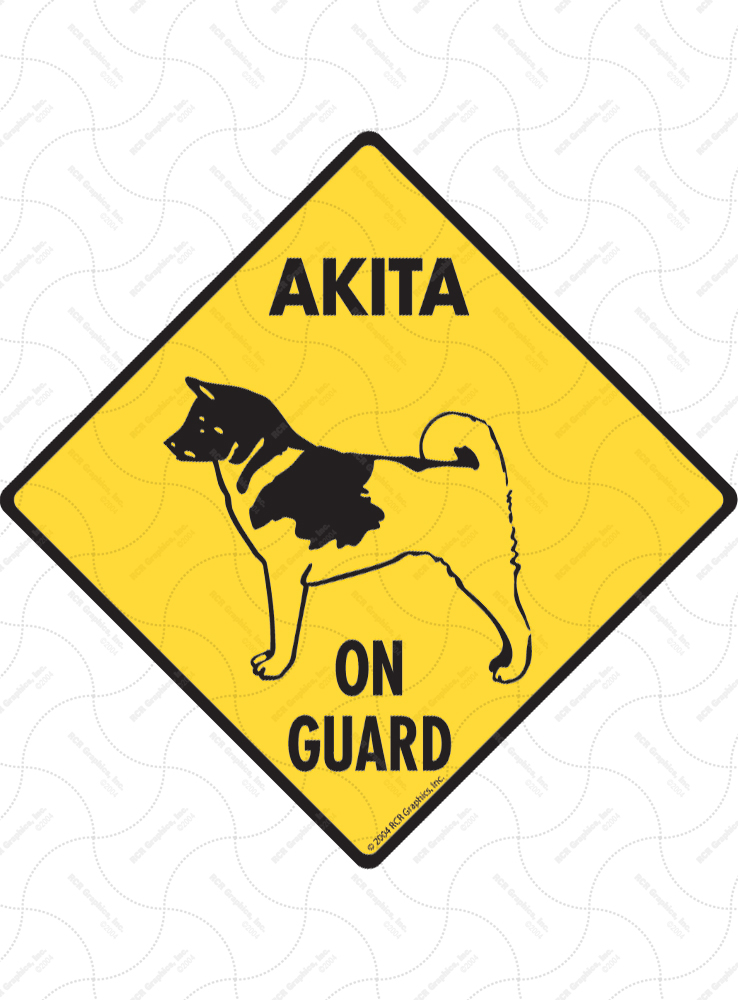 Akita On Guard Dog Signs and Sticker