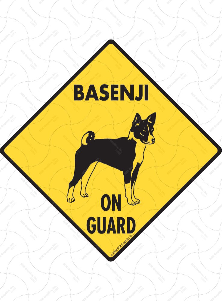Basenji On Guard Dog Signs and Sticker