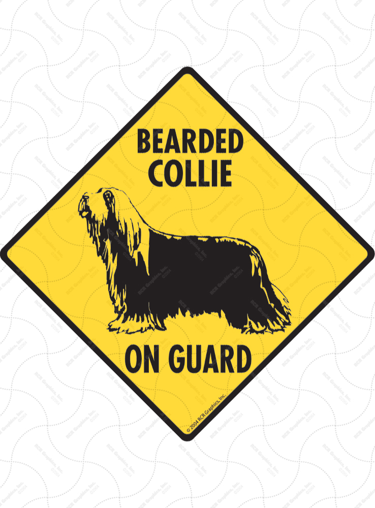 Bearded Collie On Guard Dog Signs and Sticker