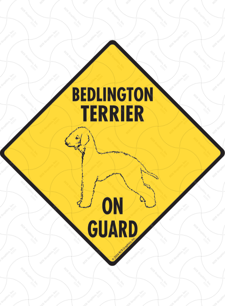 Bedlington Terrier On Guard Dog Signs and Sticker