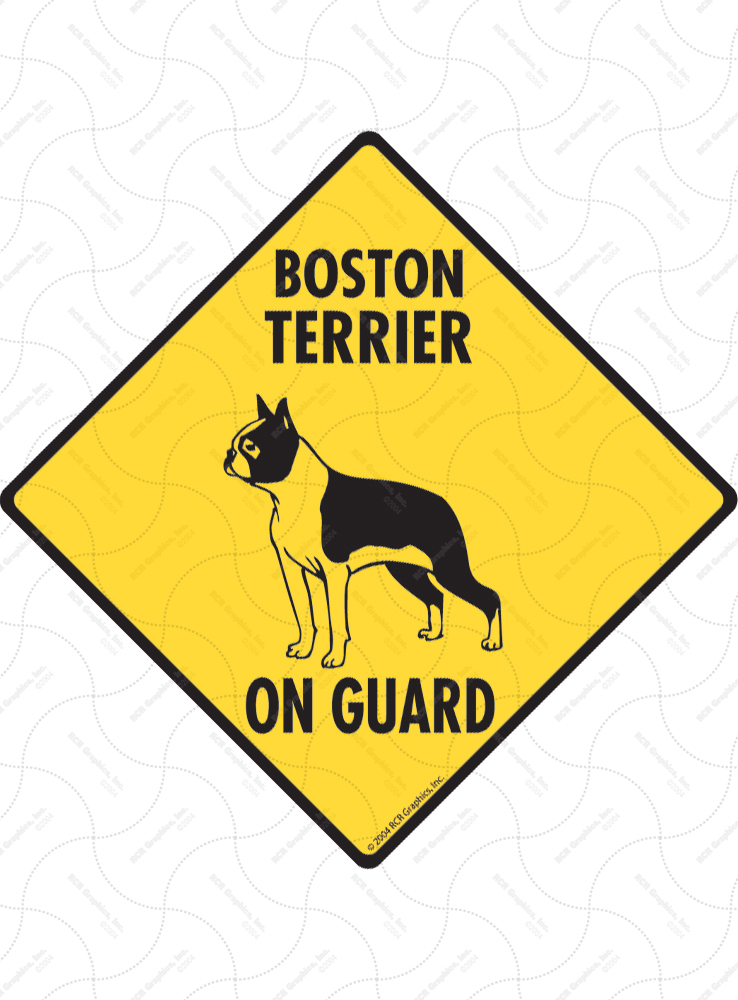Boston Terrier On Guard Dog Signs and Sticker