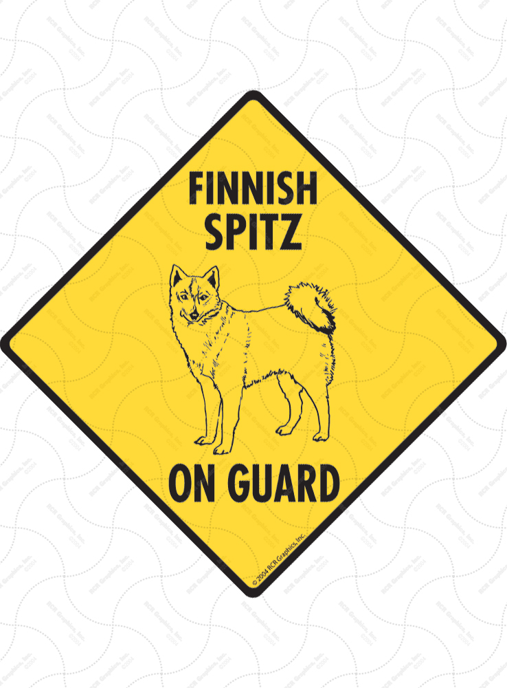 Finnish Spitz On Guard Dog Signs and Sticker