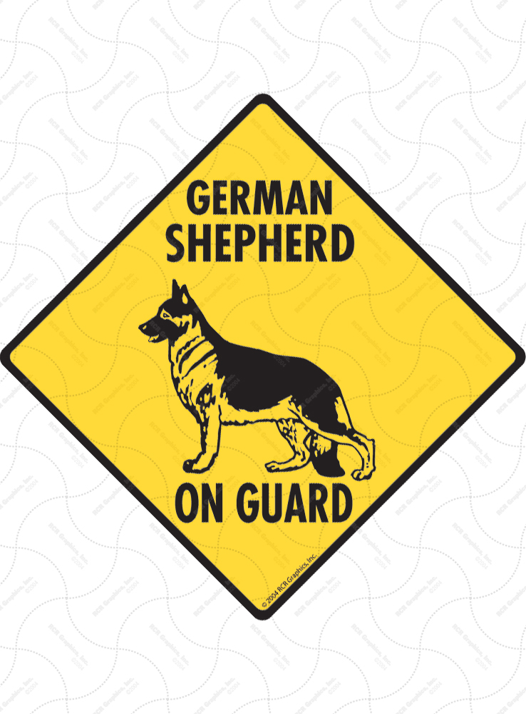 German Shepherd On Guard Dog Signs and Sticker