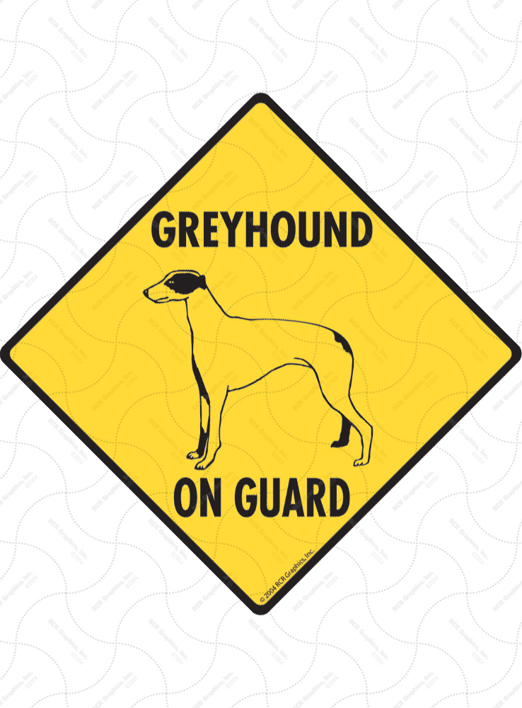 Greyhound On Guard Dog Signs and Sticker