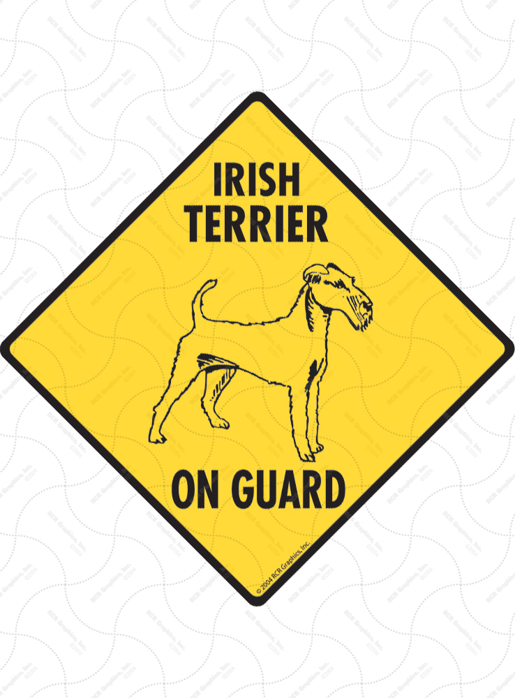 Irish Terrier On Guard Dog Signs and Sticker