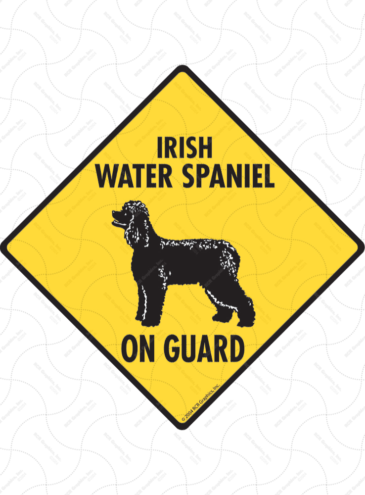 Irish Water Spaniel On Guard Dog Signs and Sticker