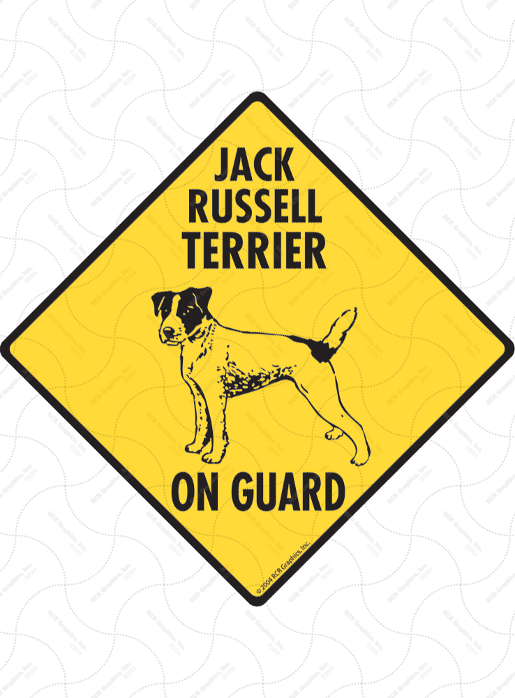 Jack Russell Terrier On Guard Dog Signs and Sticker
