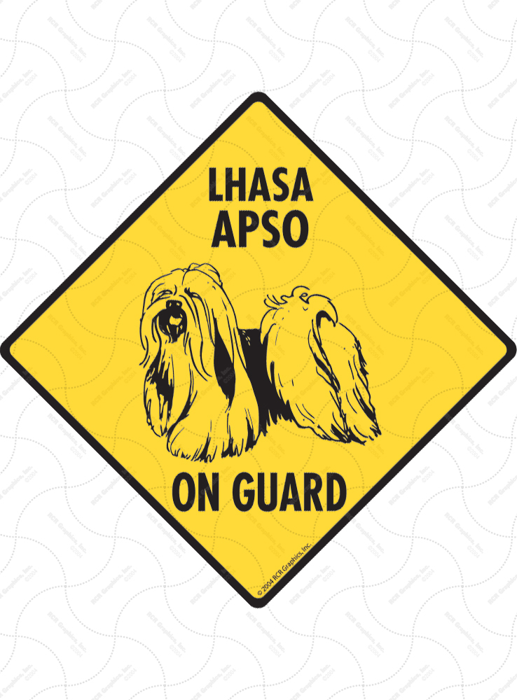 Lhasa Apso On Guard Dog Signs and Sticker
