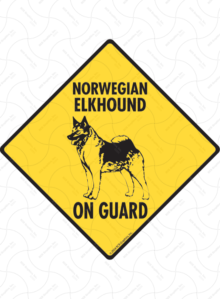 Norwegian Elkhound On Guard Dog Signs and Sticker