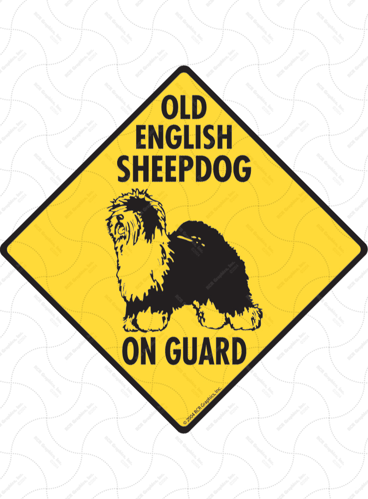 Old English Sheepdog On Guard Dog Signs and Sticker